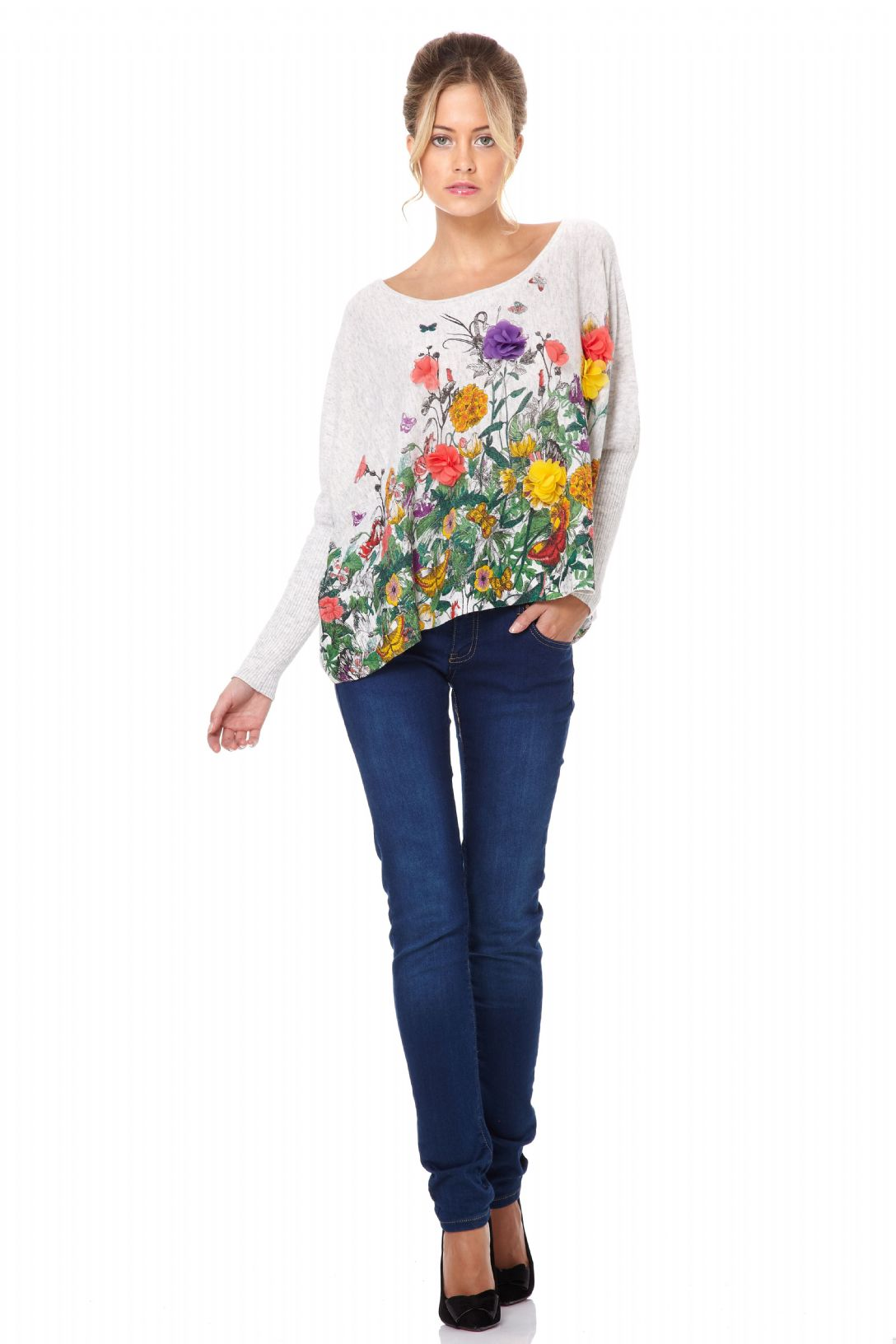 Miss Jolie Colourful Flower Printed and Embroidered Fabric ...